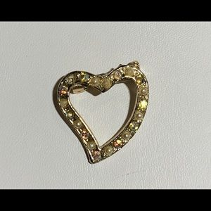 Vintage Heart Shaped Brooch Aurora Borealis Bears